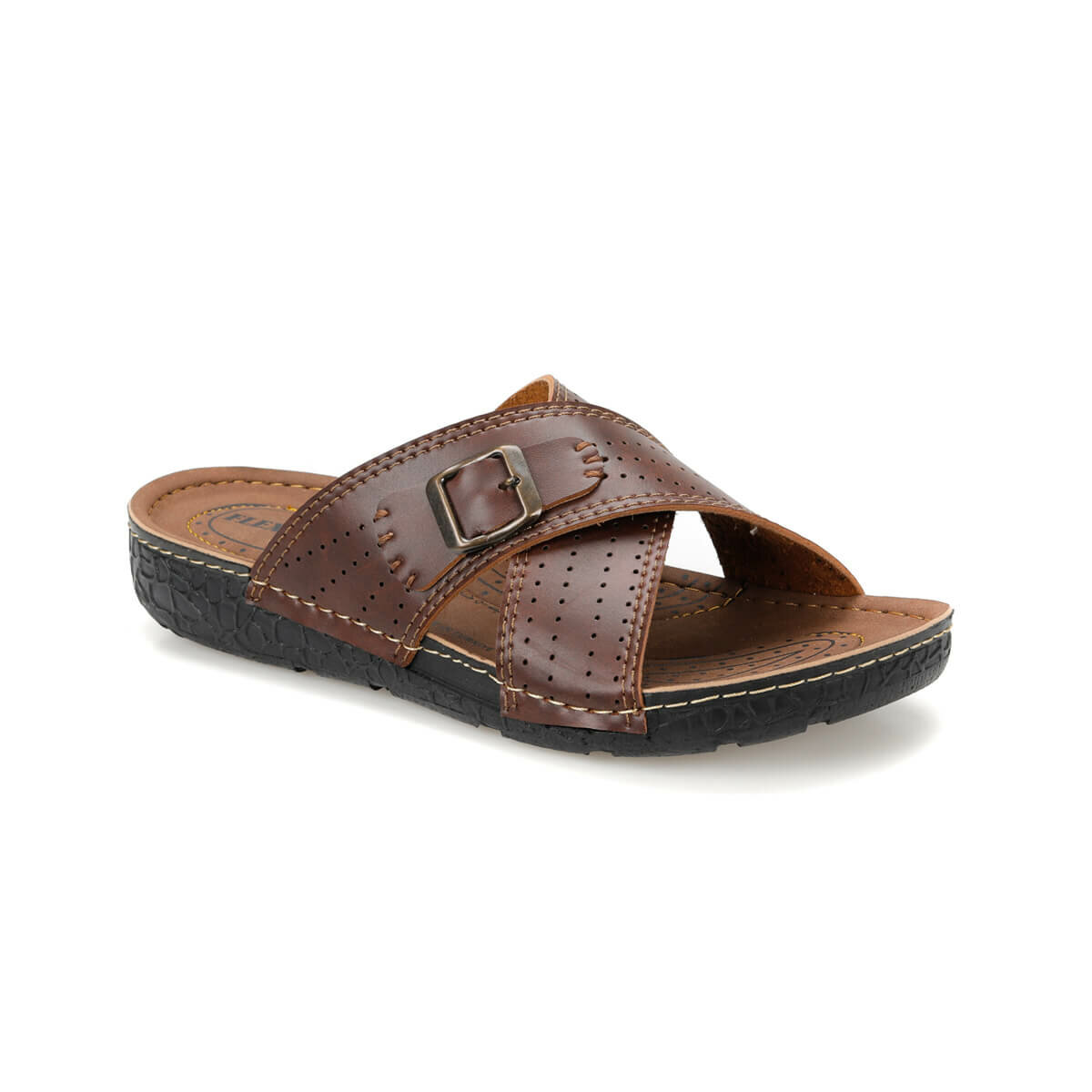 FLO BNK-05 Tan Male Slippers Flexall