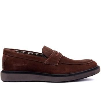 Sail Lakers-brązowe nubukowe męskie obuwie tanie i dobre opinie Prawdziwej skóry Slip-on