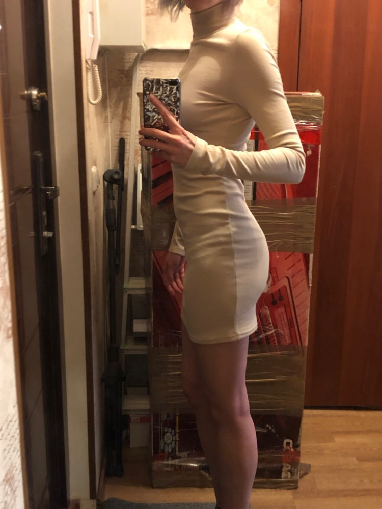 Ribbed Turtleneck Long Sleeve Winter Dress Women Fashion Vestidos Trend Color Slim Sexy Bodycon Dresses photo review