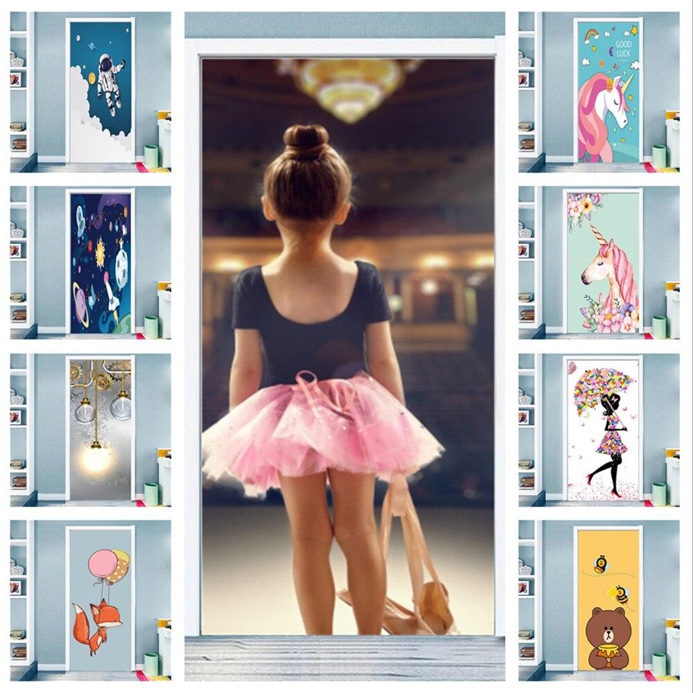 Dancing Girl Cartoon Door Stickers Wall Poster for Kids Room Unicorn Astronaut Self-adhesive Bedroom Wardrobe Glass Animal Mural
