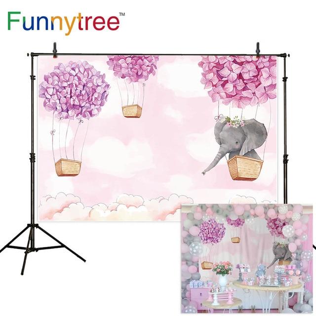 Funnytree Fondo de cumpleaños para foto de niña rosa, elefante, flor, globo de aire caliente, Fondo de ducha de bebé, fotofono de fotografía