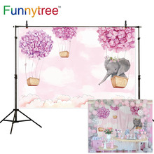 Funnytree birthday background for photo pink girl elephant flower hot air balloon baby shower backdrop photography photophone