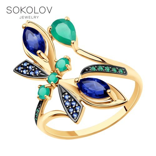 SOKOLOV Ring Gold With Agate, Corundums And Cubic Zirkonia Fashion Jewelry 585 Women's Male