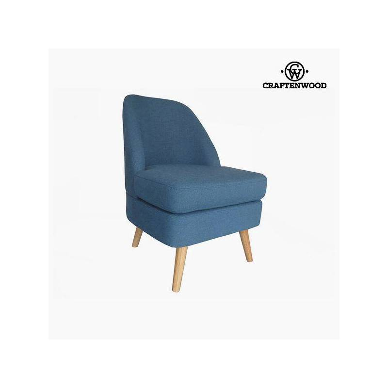Armchair Pine Wood Blue Velvet (56x68x82 Cm) Per Craftenwood