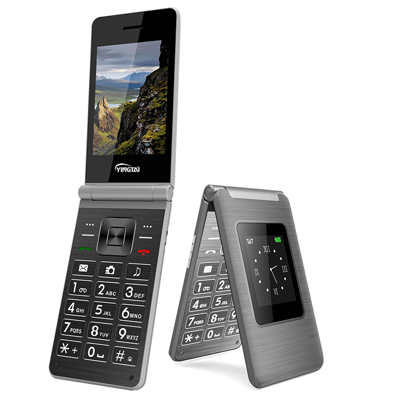 YINGTAI Dual Screen Dual SIM Flip Mobile Phone MTK Multi-language Push-button Telephone Celular Clamshell Fashion Keyboard Phone
