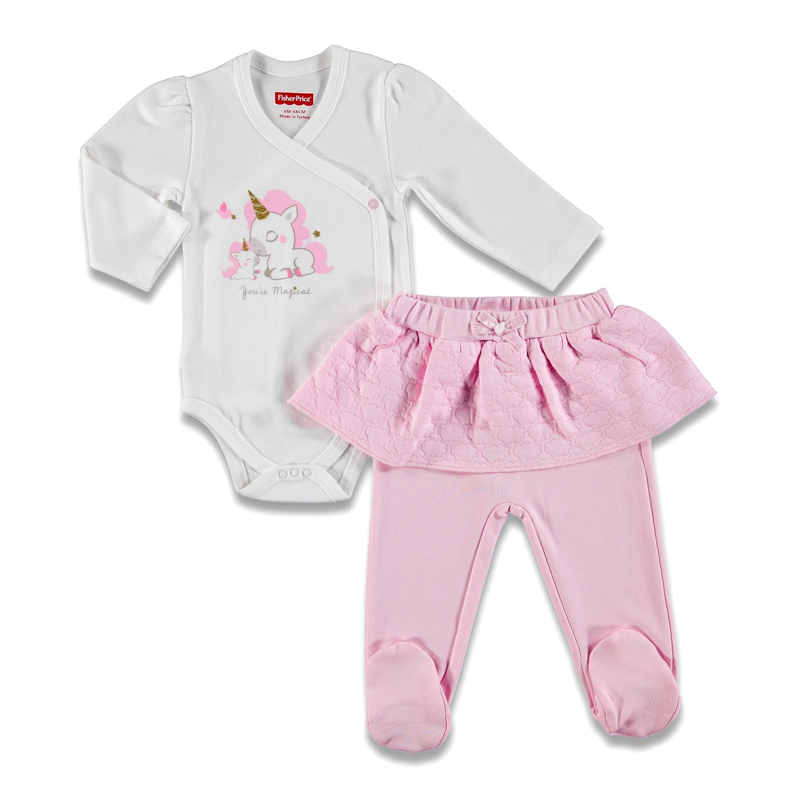 Ebebek Fisher Price Magical Unicorn Baby Bodysuit Skirt Detailed Footed Trousers