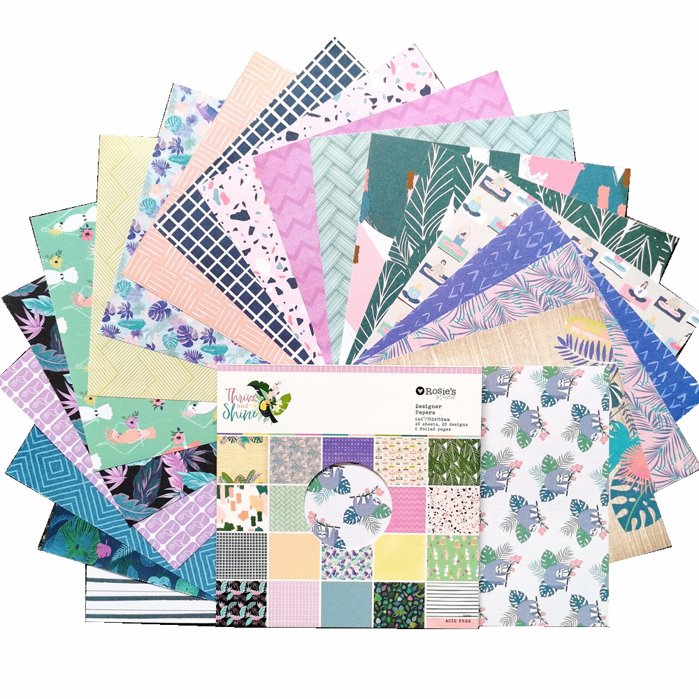 CRZCrafter 152x152mm 6 inch Scrapbooking Paper Pad 40 sheets Craft Paper Background pattern pack Acid free 4
