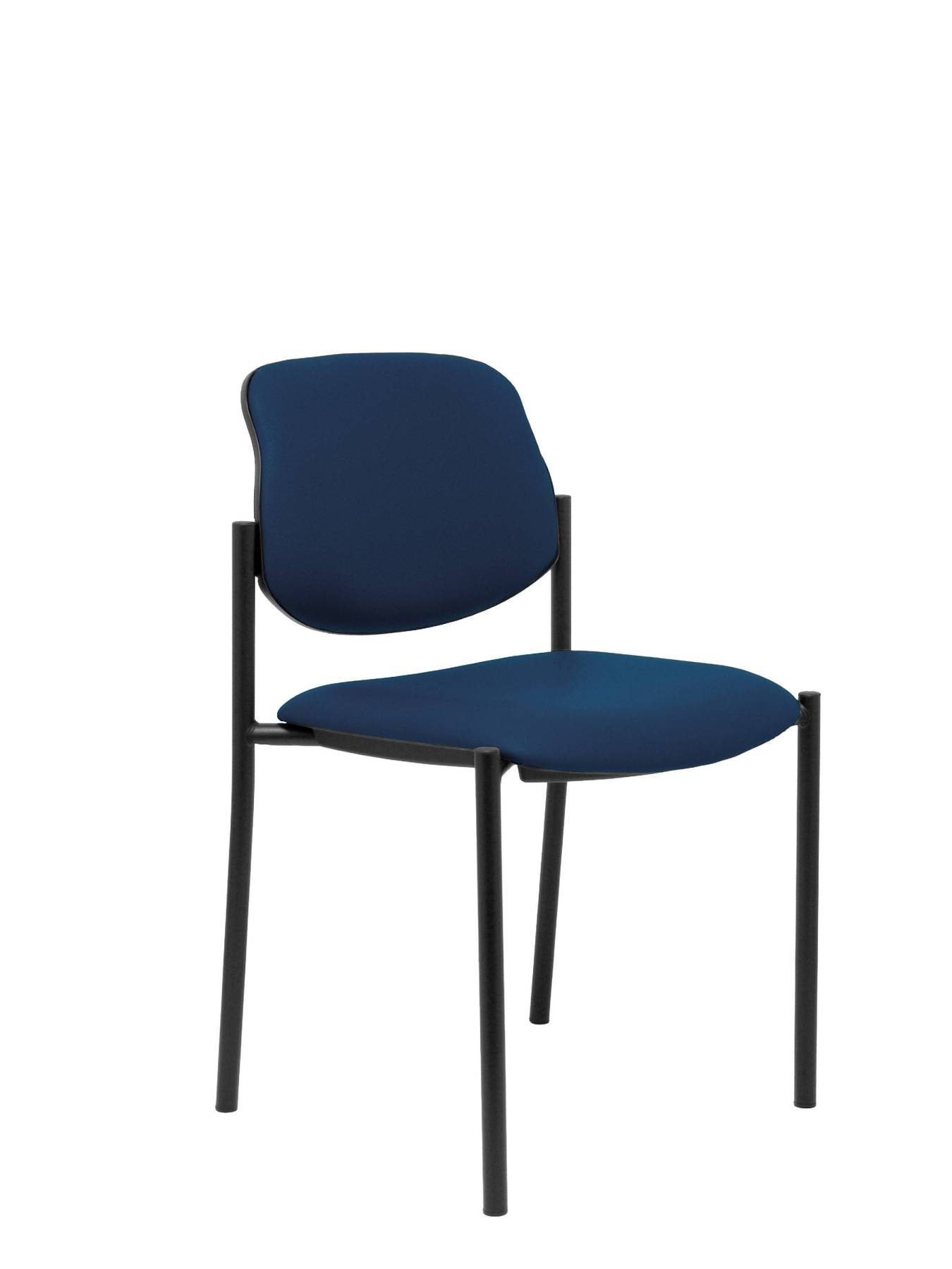 Visitor Chair 4's Topsy And Estructrua Negro-up Seat And Backstop Upholstered In Tissue Similpiel Navy Blue Color PIQU