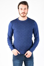Men's Cycling Neck Front And Sleeves Decorated Marine Black Knitwear 180542