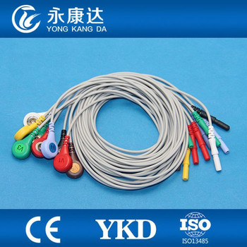 20pcs/lot Din 1.5 ECG EKG cable 10 lead AHA snap for monitor