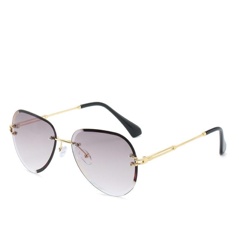 FC оптика, женские солнцезащитные очки, большие, без оправы, коричневые, градиентные, солнцезащитные очки, роскошные Оттенки для женщин, Oculos