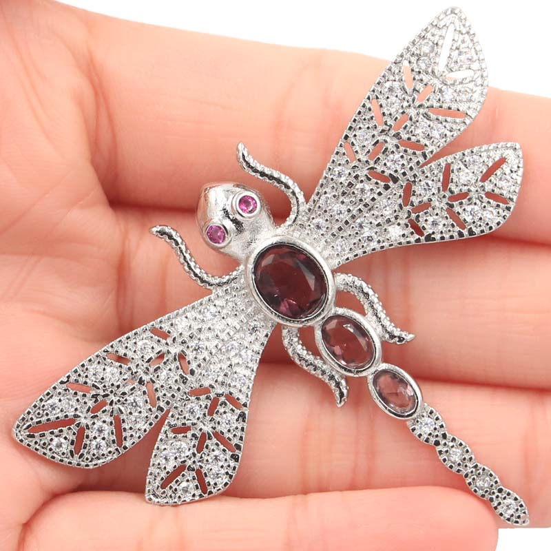 63x49mm Long Big Dragonfly Shape Purple Amethyst CZ Ladies Silver Pendant in Pendants from Jewelry Accessories