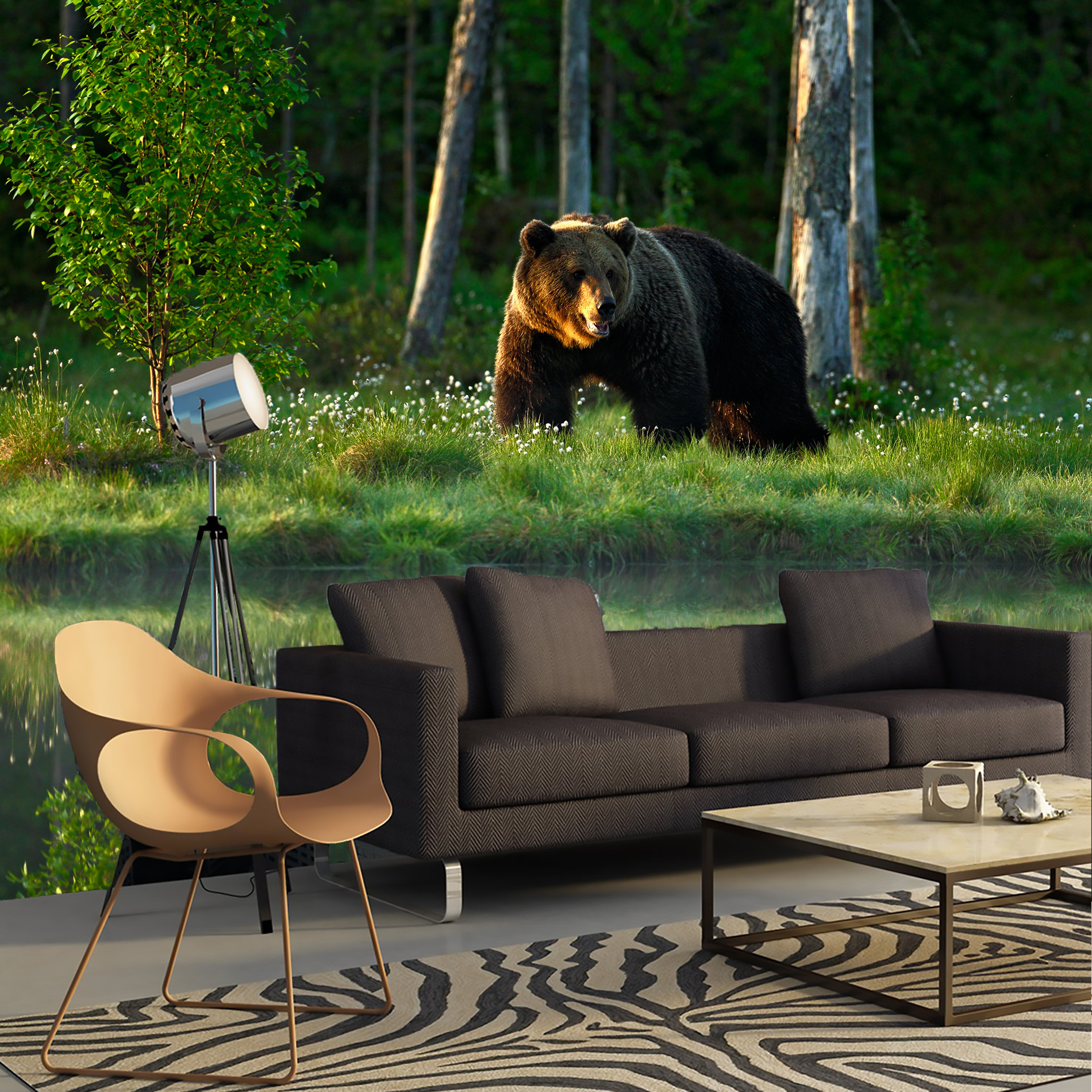 Wall Mural Nature Green Forest And Bear. Stereoscopic Wall Mural For Home Hall Bedroom