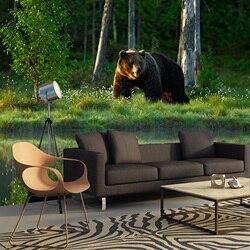 Wandbild natur grünen wald und bär. Stereoskopischen wandbild für home halle schlafzimmer