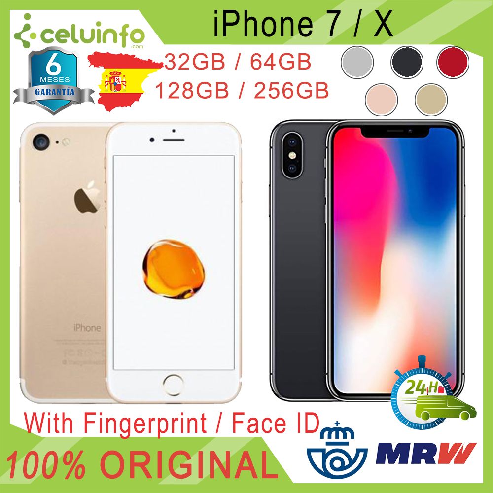 Apple IPhone 7X32G + 64G 128G 256G Unlocked Free, Second Hand, Silver Golden Black Pink, 6 Months Warranty, Sent From Spain