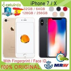 Apple iphone 7/x 32g + 64g 128g 256g desbloqueado livre, segunda mão, prata ouro preto rosa, 6 meses de garantia, enviado de espanha
