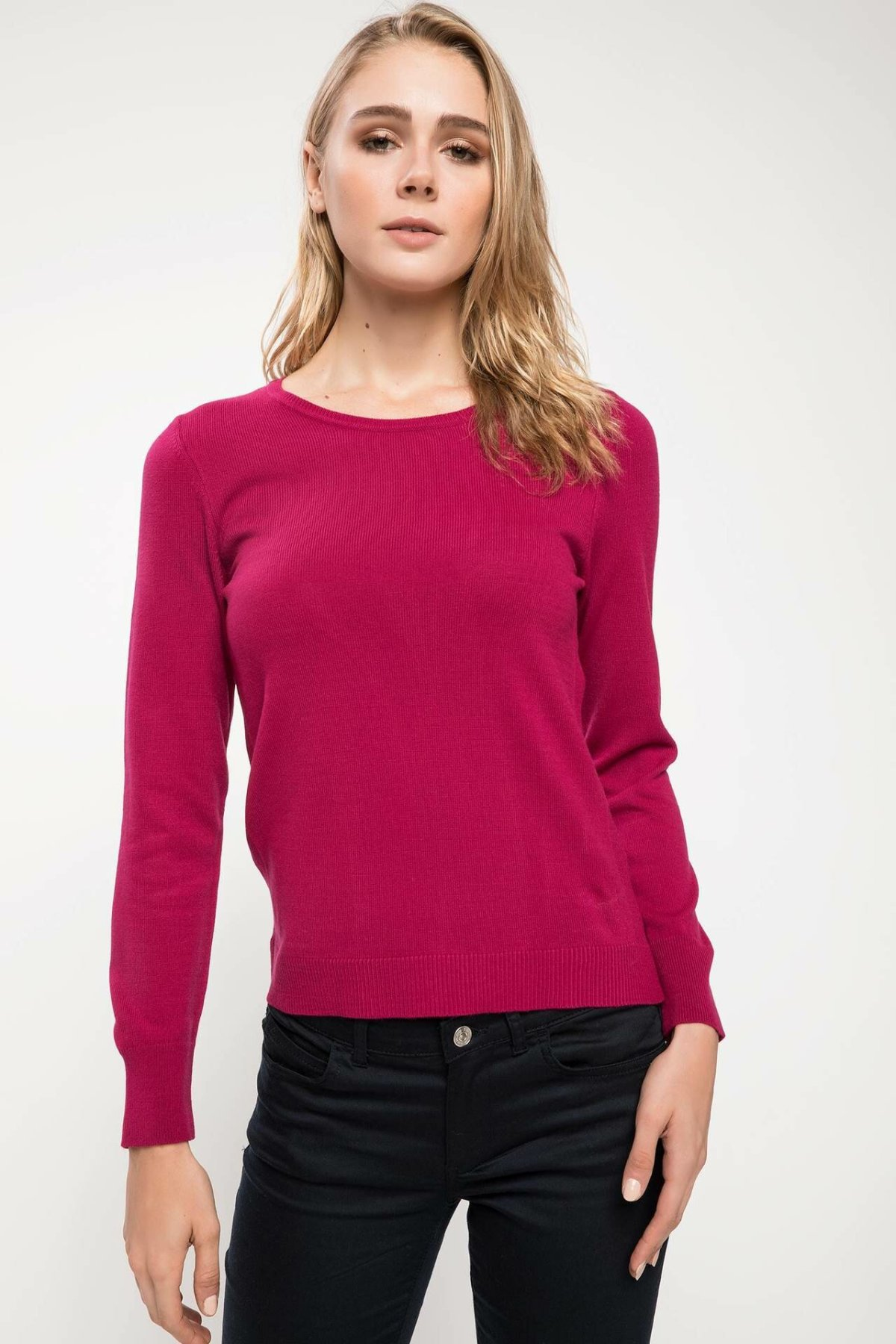 DeFacto Women Simple Crewneck Solid Knitted Pullovers Casual Pullover Long Sleeves Women Tops Autumn New -F7091AZ18AU