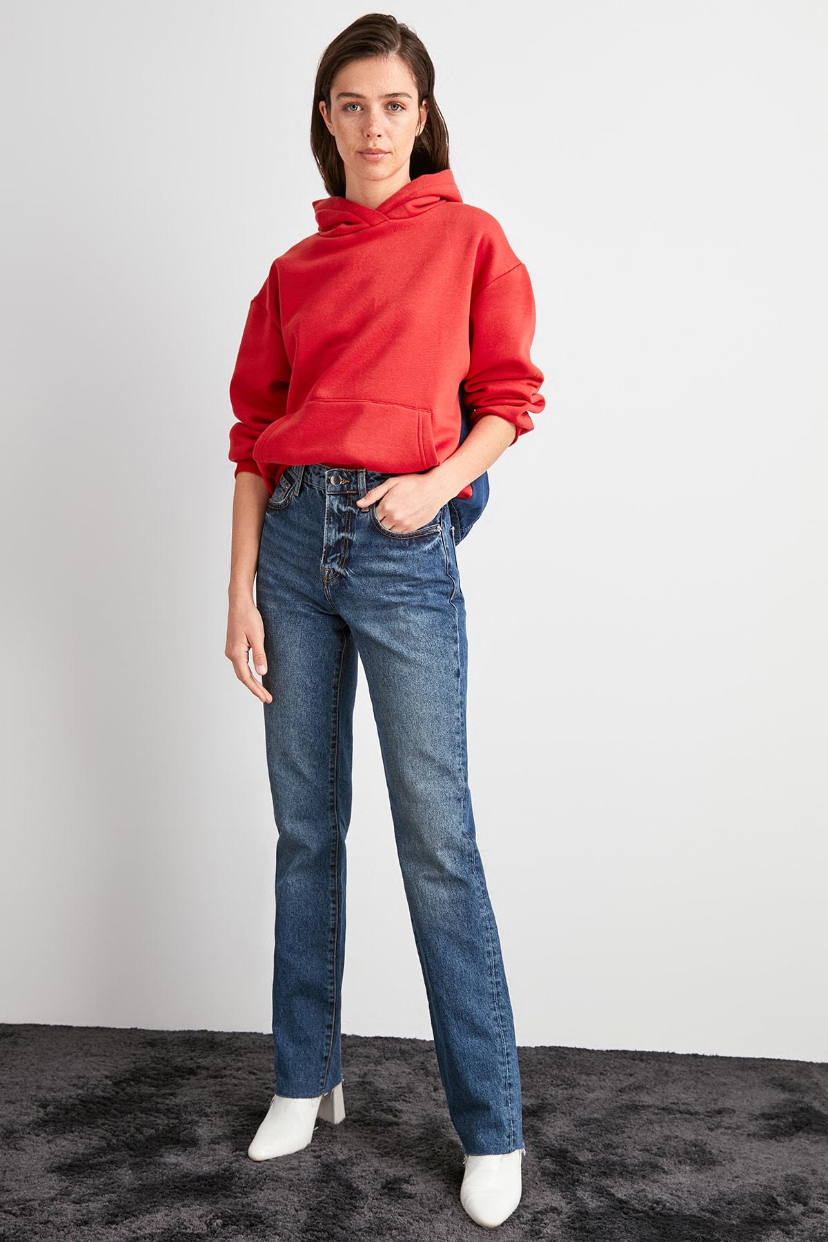 Trendyol High Bel Straight Jeans TWOAW20JE0476