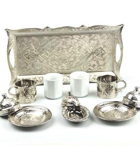 Metal Turkish Coffee Set Ottoman Tulip Patterned Cup Traditional 2 Set