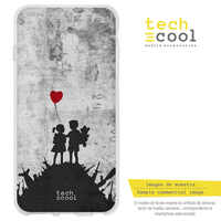 FunnyTech®Stand case for Motorola Moto Silicone E5 Play L Graffiti Banksy children war Red Balloon