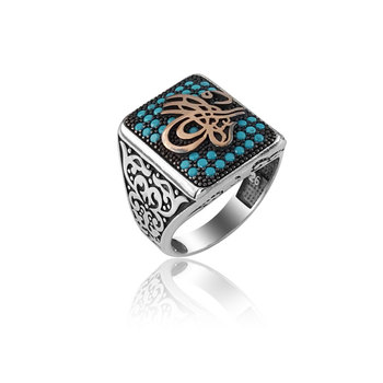 Bohemian Style Punk Rings for Men Statement Hot 925 Silver Ethnic Turquoise Ottoman Empire Tugra Dirilis Ertugrul Ring for Men