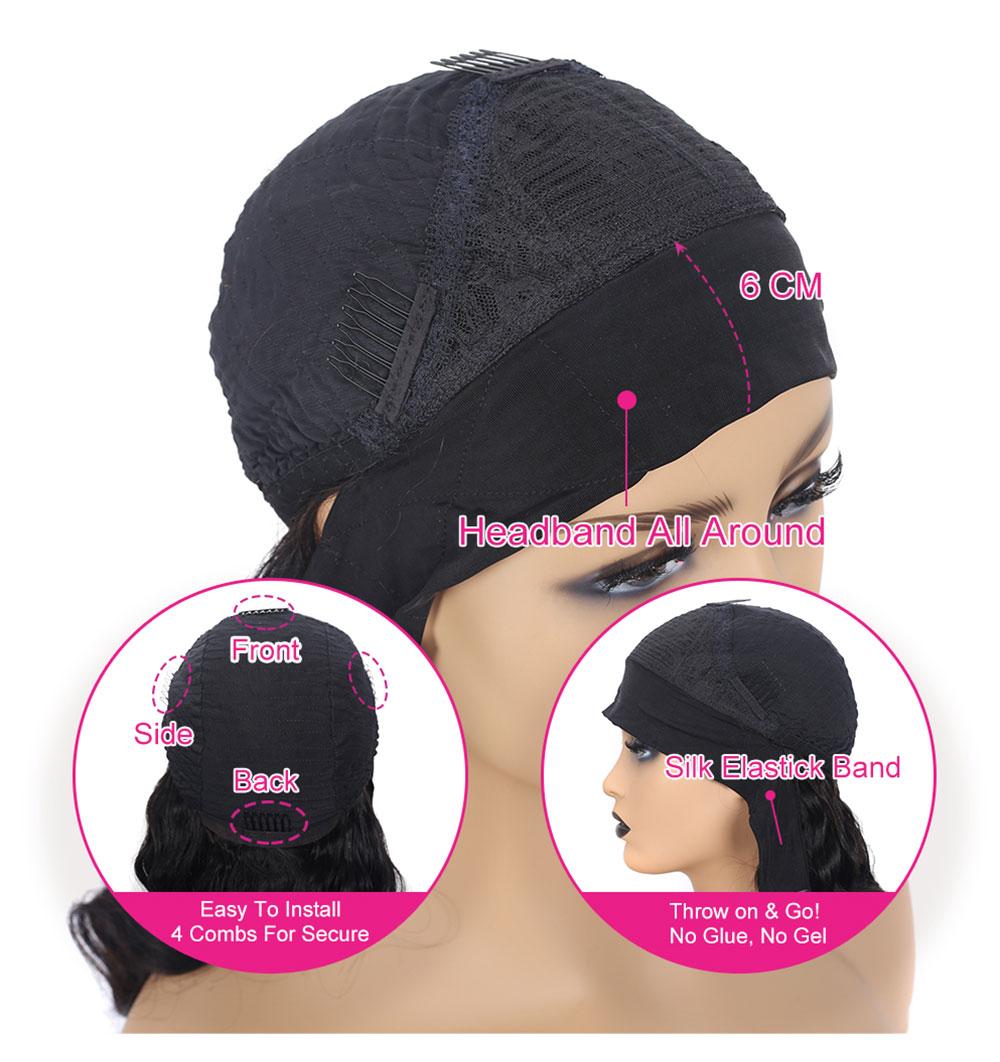Headband Wig for Black Women Natural Wave Bob Human Hair Wig Short Headband Bob Wig 150% Density No Lace Headband Wig