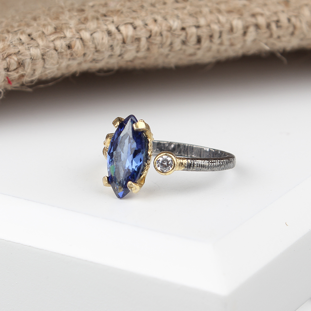 Marquise Cut Tanzanite Gemstone Sterling Silver S925 Handmade Ring, Handmade Silver Tanzanite Ring
