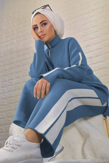 2 Pieces Knitwear Stripe Detailed Women's Double Set Pullover and Pants  3
