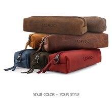 Londo Genuine Leather School Pencil Pen Case Cosmetic Makeup Bag Supplies Bag School Box Pencils Pouch Stationery