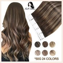 Полностью Сияющие человеческие волосы на ленте для наращивания прямые двухсторонние настоящие волосы Remy невидимый клей в волосах бесшовны...