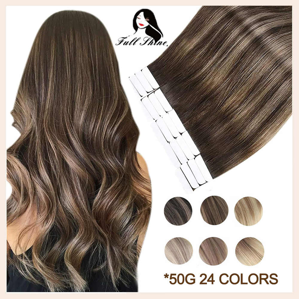 Full Shine Tape in Human Hair Extensions 50g Glue On Hair Balayage Color Invisible Seamless 100% Real Machine Remy Human Hair