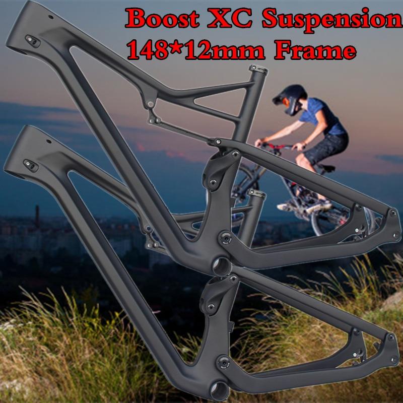 27 5 Bike Frame Suspension Carbon Fiber Axle 29e in 148x12mm MTB 650B UD Bike Boost MTB CARBON Bicycle XC AM Suspension Frameset in Bicycle Frame from Sports Entertainment