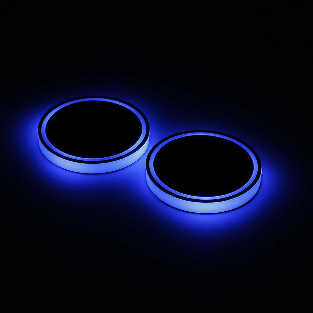 2X Автомобильный светодиодный светильник подстаканник Автомобильный интерьер USB Красочный атмосферный светильник s лампа держатель для напитков Противоскользящий коврик авто товары