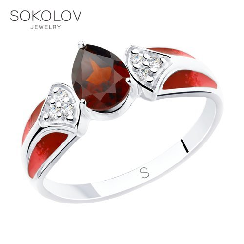 SOKOLOV Ring Of Silver With Enamel And Garnet, And Cubic Zirconia Fashion Jewelry 925 Women's/men's, Male/female