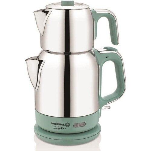 Korkmaz A331-06 Turquois Steel Tea Machine Turkish Electric Teapot, Tea Kettle Machine Maker, Samovari Turkish Tea Maker,Tea Urn