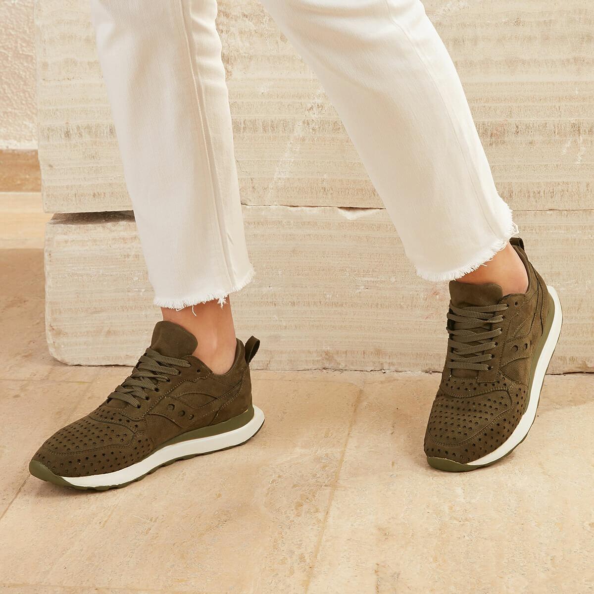 FLO CURRY56Z SUEDE Khaki Women 'S Sneaker Shoes BUTIGO