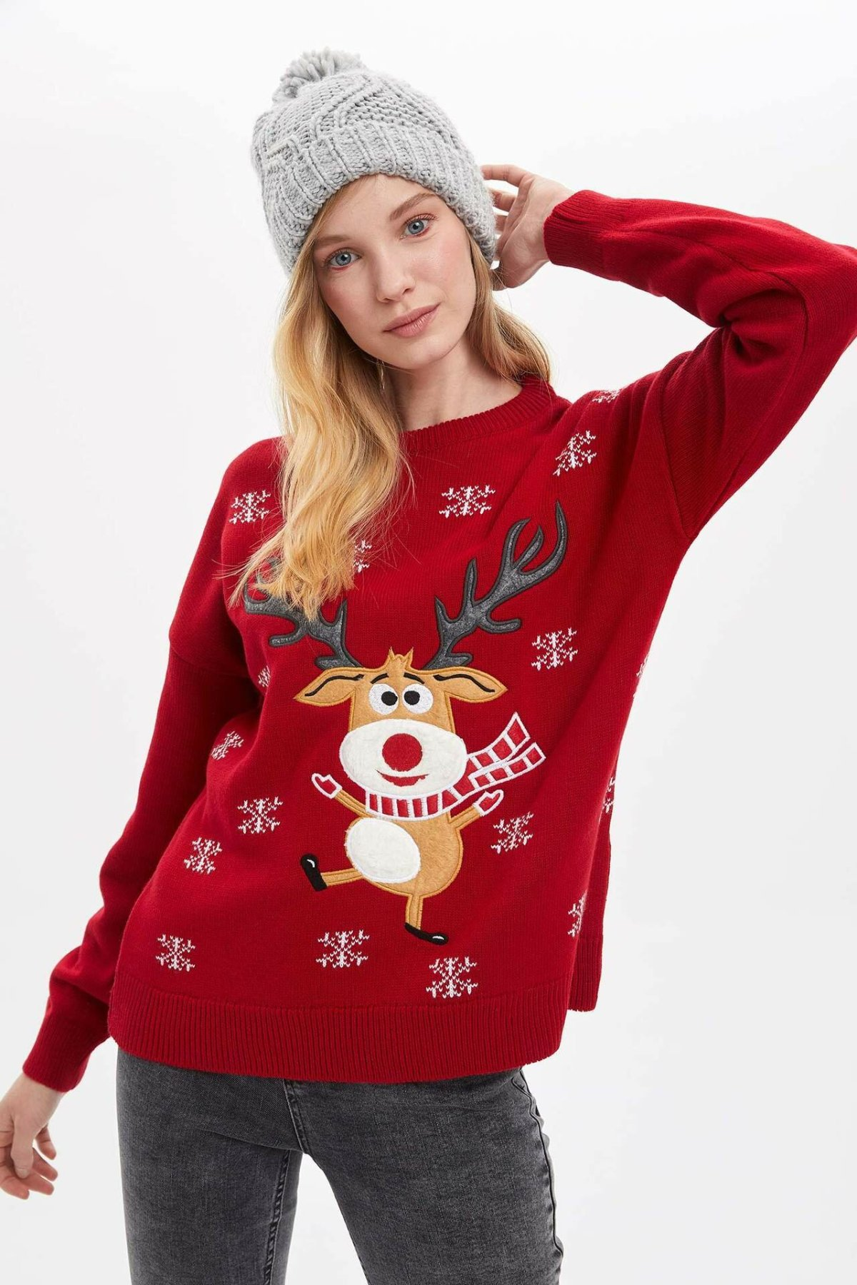 DeFacto Woman Winter Christmas Deer Pullover Women Casual Red Knitted Pullover Women Snowflake Sweatshirts-L5738AZ19WN