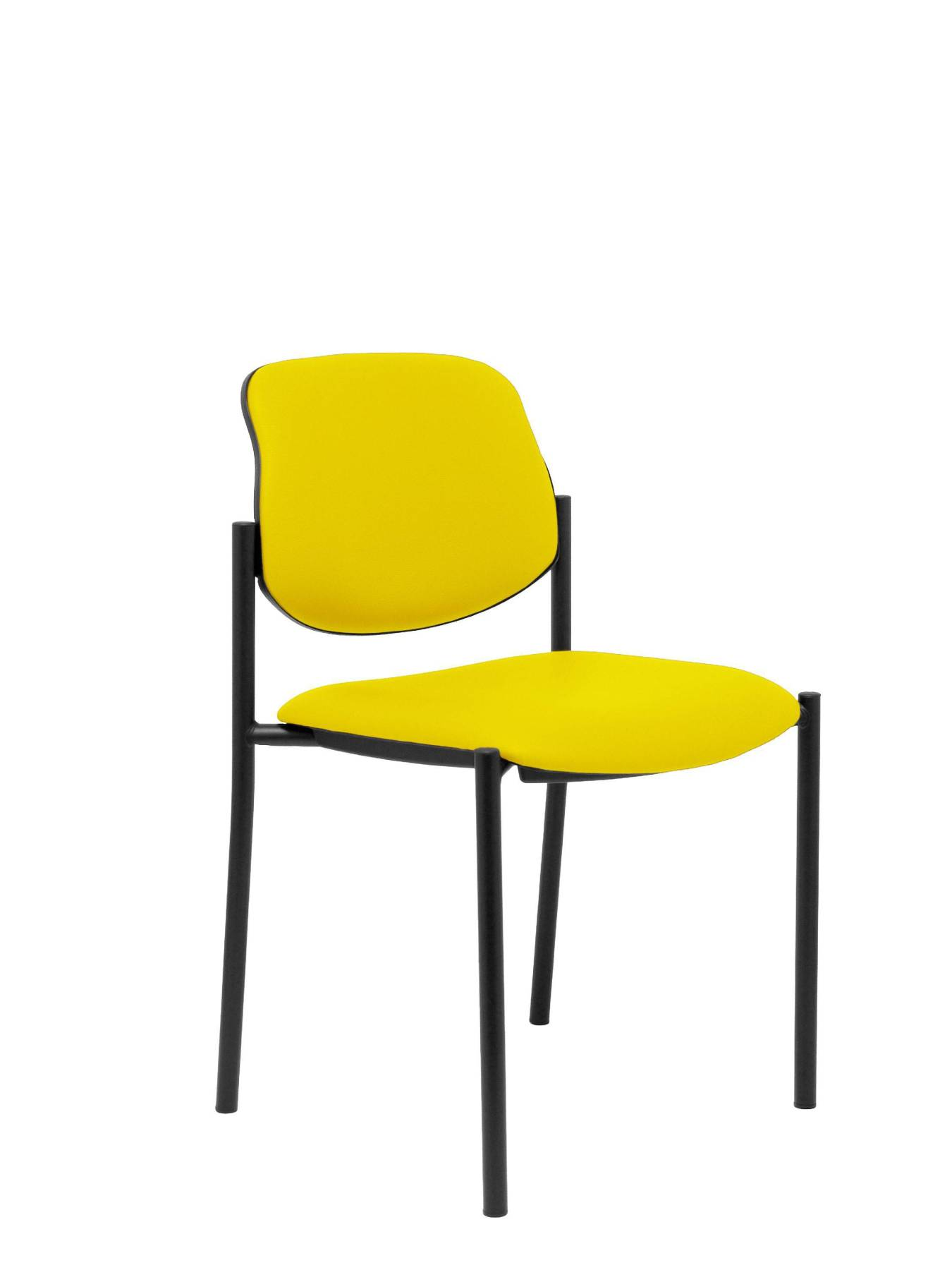 Visitor Chair 4's Topsy And Estructrua Negro-up Seat And Backstop Upholstered In Tissue Similpiel Color Yellow TAPHOLE
