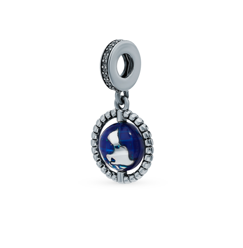 Silver Pendant With Cubic Zirconia And Enamel Sunlight Sample 925