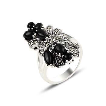 Silver 925 Sterling Onyx & Marcasite Ring