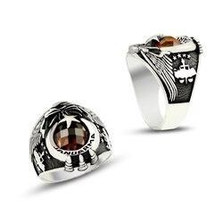 925 пробы Серебряное кольцо с головой орла