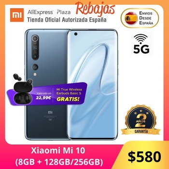 Купить Xiaomi Mi 10 5G (128 ГБ, 256 ГБ ROM con 8 Гб RAM Snapdragon™865 Android Nuevo Móvil) [telefono Móvil Versión Global para España]