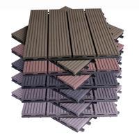 Tableros de suelo de jardín compuesto WPC, 30x30cm, Juego de 11 uds, baldosas de terraza con efecto de madera entrelazada, con sistema Click
