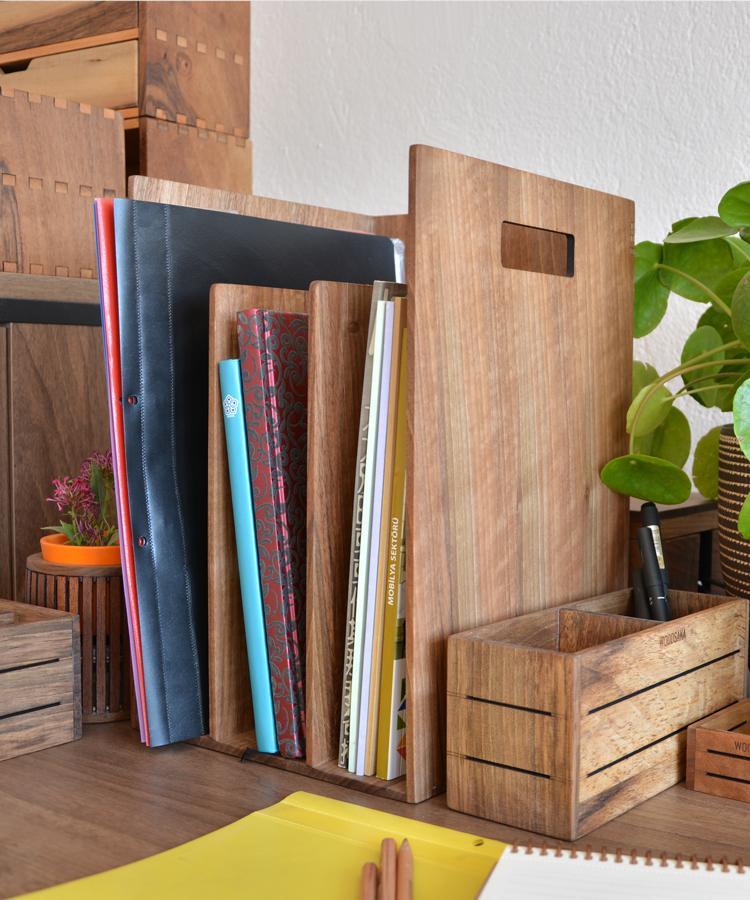 Reka - Bookcase & Magazine Holder - Walnut - WOODSAKA