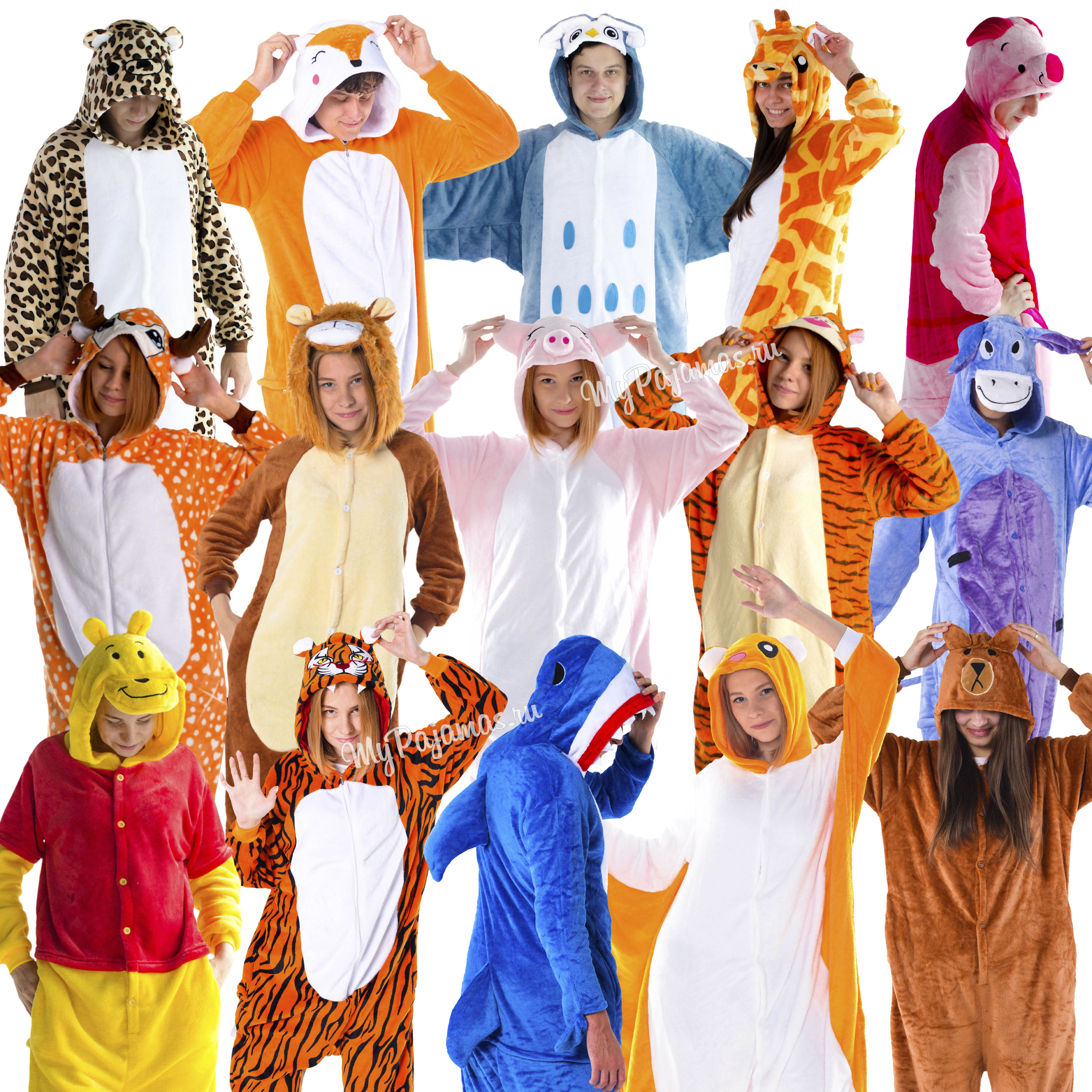 Pajamas Kigurumi Animal Nose, Winnie Pooh Bear, Lion, Bear, Shark, Squirrel Flying Squirrel, Deer, Leopard Sleepwear Women And Men.
