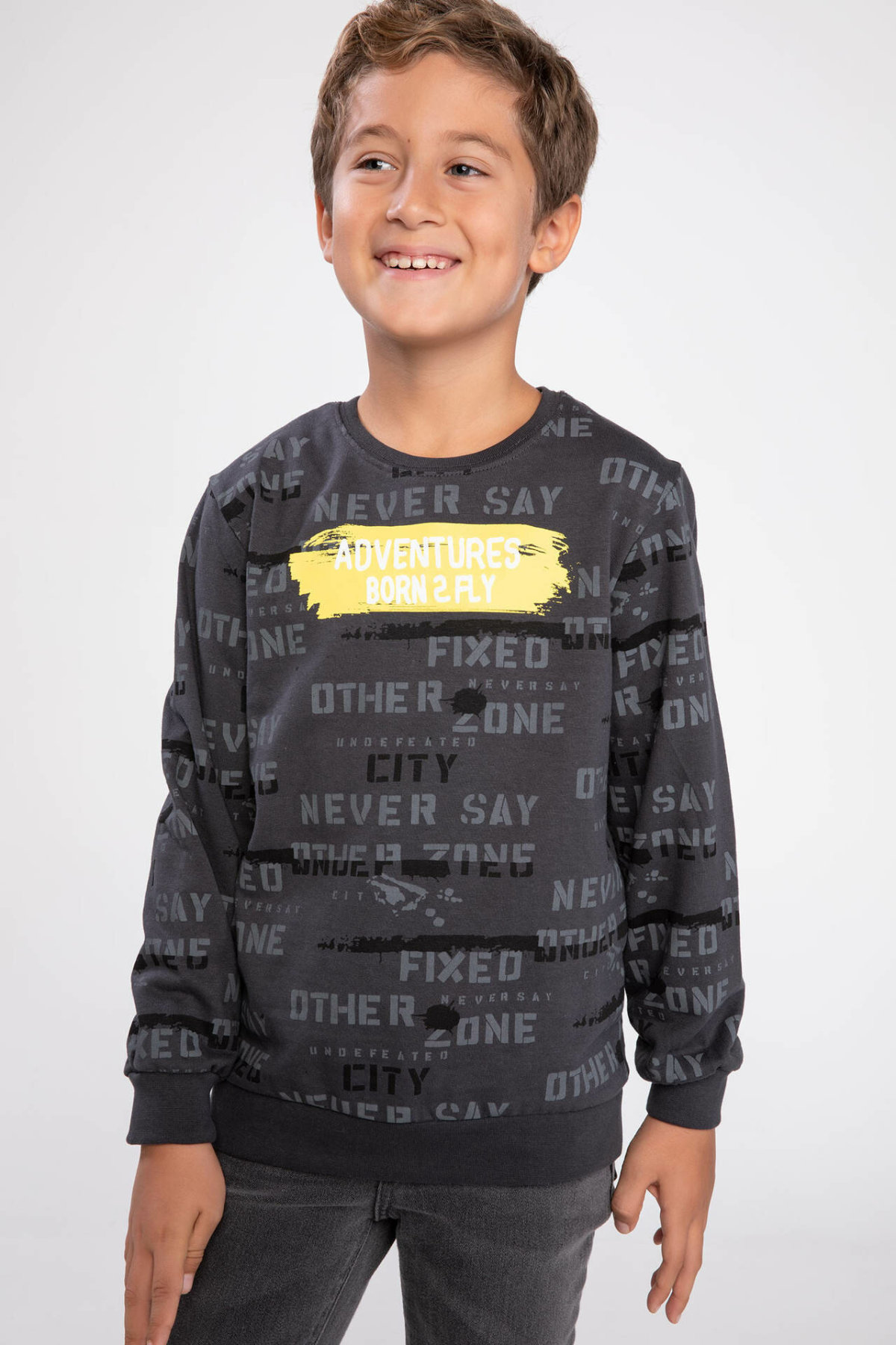 DeFacto Boys Fashion Letter Pattern Crewneck Loose Pullovers Casual Sportwear Boys Autumn New Pullovers New - J6847A618AU