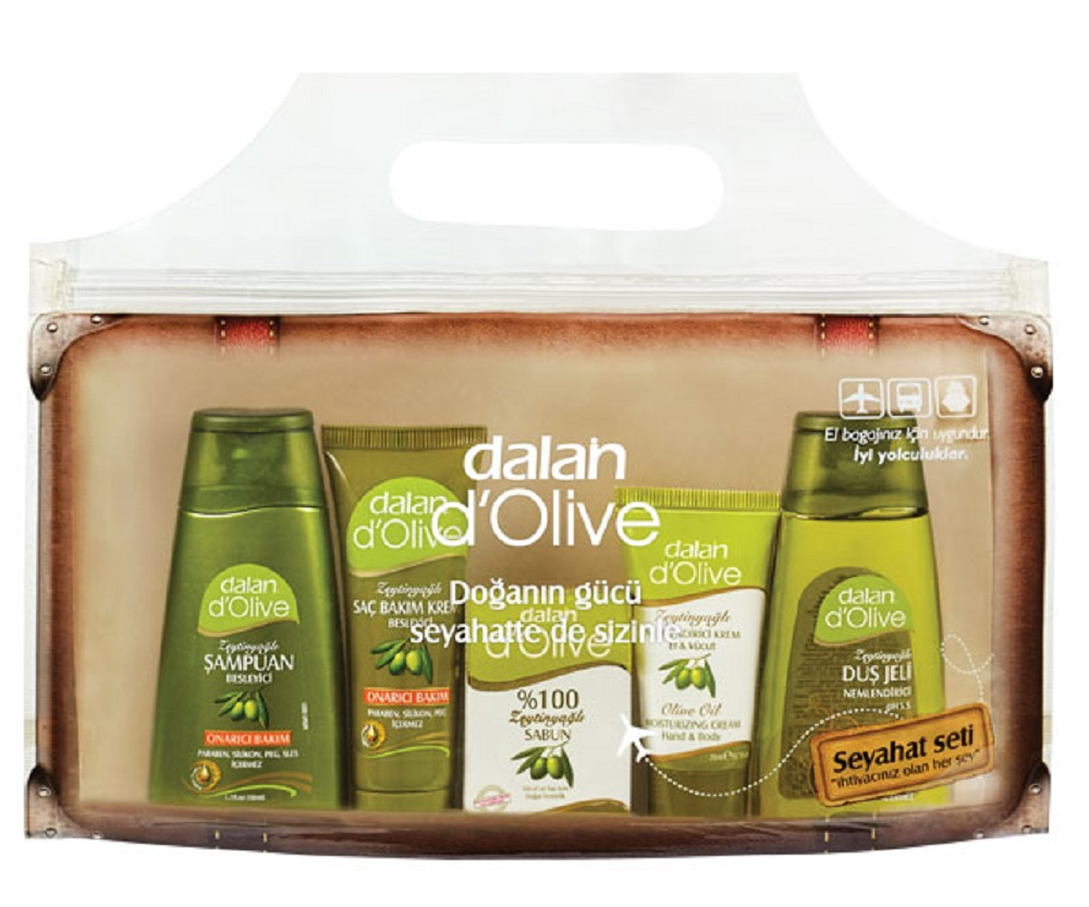 Dalan DOlive Travel Set Hair Shampoo Hand Cream Body Cream Shower Gel Hair Conditioner Soap With Olive Oil MADE In TURKEY Aegean