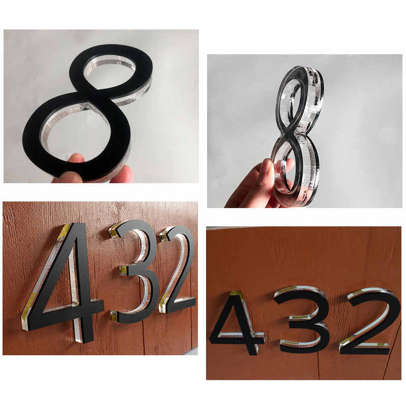Stainless Steel House Number 14 20cm A-E Anthracite Grey Plexiglas 30cm,1-999 17cm