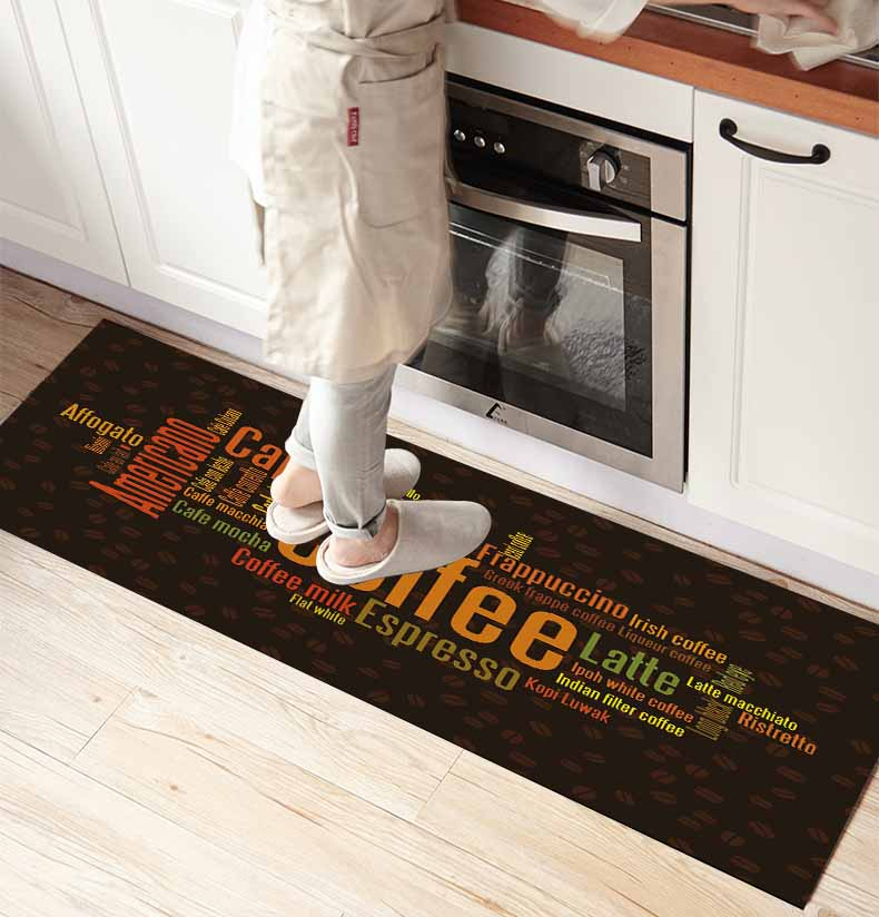 Else Brown Coffee Orange Writen 3d Print Non Slip Microfiber Kitchen Counter Modern Decorative Washable Area Rug Mat