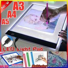 Prancheta ultra-fina a5/a4/a3, tablet ultrafina alimentada por usb, para desenho, iluminação lona em branco de 3 níveis escurecimento